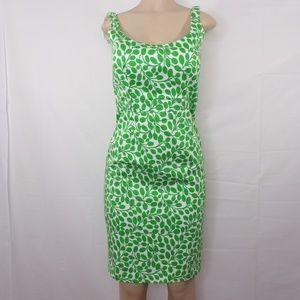 London Times Sheath Green/White Dress, Sz 6,